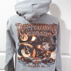 Harley Davidson Hoodie Medium Skeleton Motorcycle